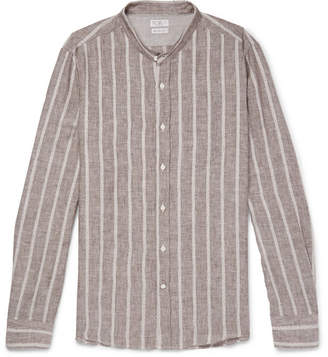 Brunello Cucinelli Grandad-Collar Striped Linen And Cotton-Blend Shirt