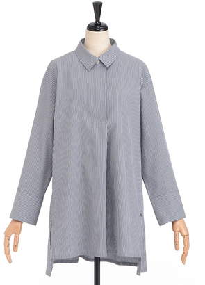 Ad Addenda (エイディー アデンダ) - エイディーアデンダ コットン混プルオーバーストライプシャツ