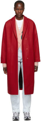 MSGM Red Oversized Stamped Rose Coat