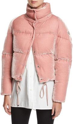 Moncler Cercis Cropped Velvet Puffer Coat $1,295 thestylecure.com