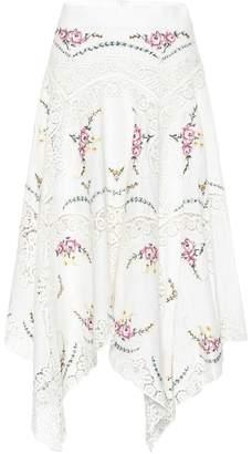Zimmermann Allia linen and cotton midi skirt