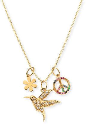 Sydney Evan 14k Daisy, Peace & Hummingbird Trio Pendant Necklace