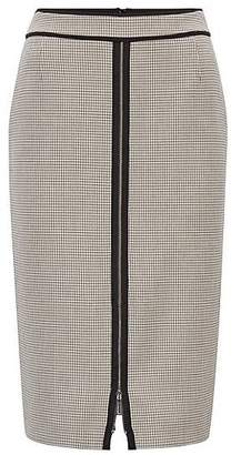 HUGO BOSS Pencil skirt in checked stretch fabric with front zip