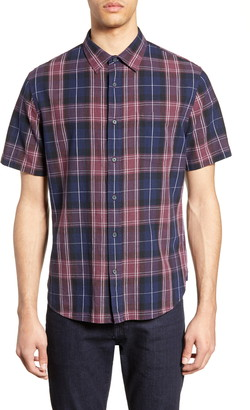 Vince Slim Fit Plaid Short Sleeve Linen & Cotton Sport Shirt