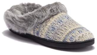 Dearfoams Pattern Knit Faux Fur Slipper