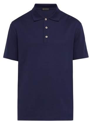 Versace Medusa Crystal Button Cotton Pique Polo Shirt - Mens - Navy