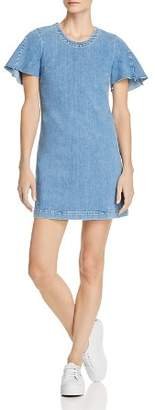 7 For All Mankind Flare-Sleeve Denim Dress