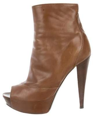 Sergio Rossi Leather Peep-Toe Ankle Boots Brown Leather Peep-Toe Ankle Boots
