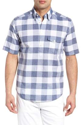 Eton Slim Fit Short Sleeve Check Dress Shirt