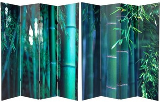 Oriental Furniture 6' Tall Double Sided Bamboo Tree Canvas Room Divider 4 Panel