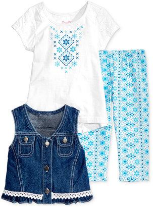 Nannette 3-Pc. Denim Vest, T-Shirt & Leggings Set, Toddler & Little Girls (2T-6X) $48 thestylecure.com
