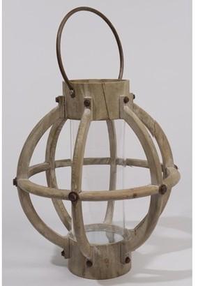 "Kaemingk 15.75"" Seaside Treasures Rustic Chic Drift Wood and Glass Hurricane Pillar Candle Lantern"