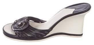 Chanel CC Camellia Slide Wedges
