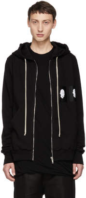 Rick Owens Black Patch Jasons Zip-Up Hoodie