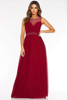 Quiz Berry Chiffon High Neck Embellished Maxi Dress