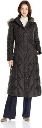 "London Fog Women's Maxi 49"" Down W/Fur Trim Hood"