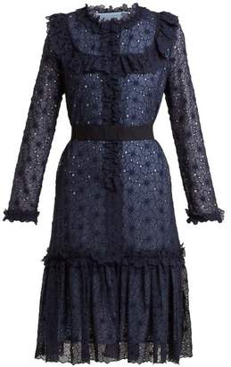 Luisa Beccaria Floral Embroidered Silk Blend Dress - Womens - Navy