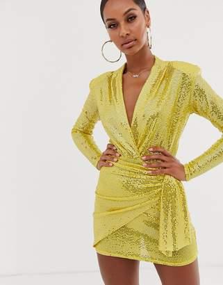 John Zack plunge front mini wrap dress in yellow sequin