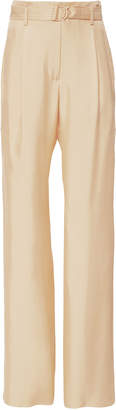 Sally LaPointe Belted High-Waist Silk Trousers Size: 4