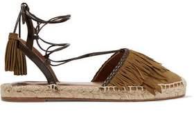 Aquazzura Pocahontas Leather-Trimmed Suede Espadrilles