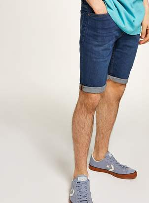 Topman Bright Blue Wash Stretch Skinny Shorts