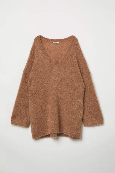 H&M - V-neck Wool-blend Sweater - Beige
