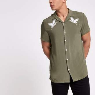 River Island Khaki crane embroidered revere shirt