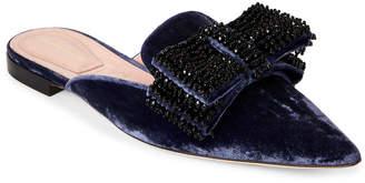 Alberta Ferretti Violet Velvet Pointed Toe Bow Mules