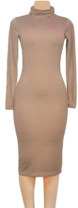 Silencelight Khaki Comfortable Sexy Women Clubwear High Collar Long Sleeve Slim Fit Exquisite Evening Party Dress