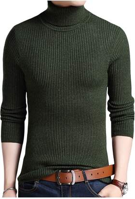 Letuwj Mens Sweater Turtleneck Pull Over Stripe XX-Large