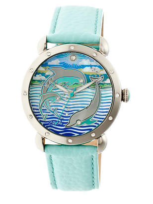 Mother of Pearl BERTHA Bertha Womens Estella Mother-Of-Pearl Turquoise Leather-Band Watchbthbr5101