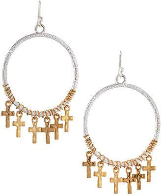 Kenneth Jay Lane Two-Tone Cross Hoop Earrings