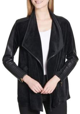 Calvin Klein Faux Leather-Trimmed Flyaway Jacket