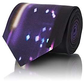 Prada Men's Neon-Lights-Print Silk Twill Necktie-Purple