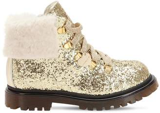 MonnaLisa Glittered Faux Leather Combat Boots
