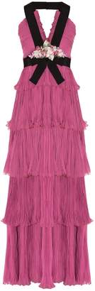 Gucci Floral Applique Silk Gown
