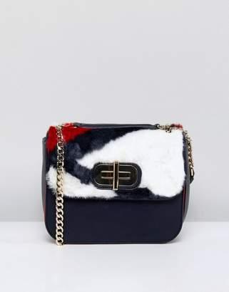 Tommy Hilfiger Twist Lock Fur Crossbody Bag