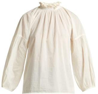 Apiece Apart Victoria Ruffled Neck Cotton Blouse - Womens - Cream