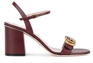 Gucci GG Marmont Bordeaux Leather Sandals