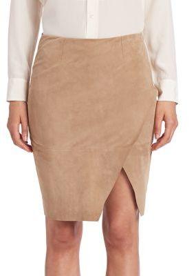 Polo Ralph Lauren Asymmetrical Leather Pencil Skirt $698 thestylecure.com