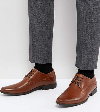 Asos Design Wide Fit Lace Up Derby Shoes In Tan Faux Leather