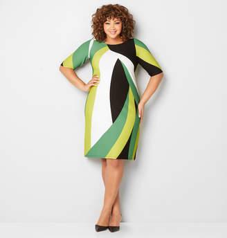 Avenue Retro Colorblock Textured Sheath Dress