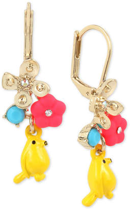 Betsey Johnson Gold-Tone Flower & Bird Drop Earrings