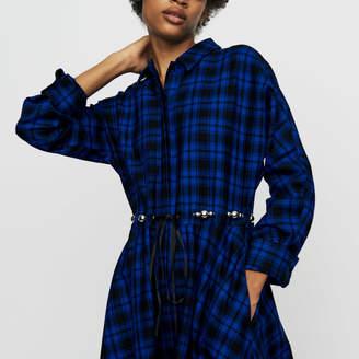Maje Long plaid shirt dress