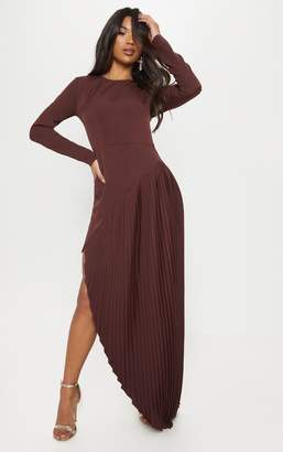 PrettyLittleThing Chocolate Pleated Asymmetric Hem Maxi Dress