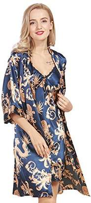 Asherbaby Womens Satin Nightgown Sets 2Pcs Printed Chemise Lounge Dress and Robe US M/Tag XL