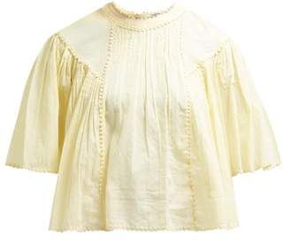 Etoile Isabel Marant Algar Embroidered Cotton Blouse - Womens - Light Yellow