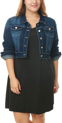Allegra K Agnes Orinda Women's Plus Size Button Closed Cropped Denim Jacket