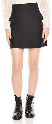Sandro Oro Ruffled A-Line Mini Skirt
