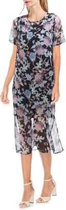 Vince Camuto Poetic Blooms Overlay Midi Dress